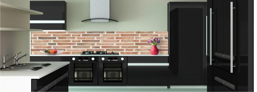 D co mur de briques cr dence toutes les cr dences pour votre cuisine sur cr dence d co - Cuisine brique rouge ...